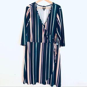 Derek Heart Plus Faux Wrap Jersey Stripe Dress New